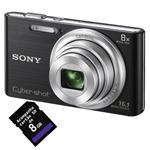 CAMERA DIGITAL SONY 16.1MP DSC-W730 PRETA + 8GB